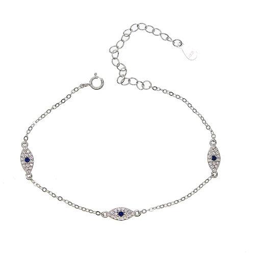 Lucky Eye Sterling Silver Bracelet - Silver or Gold