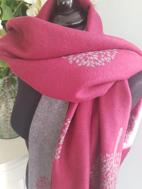 Mulberry Tree Burgundy Red Cashmere Mix Scarf