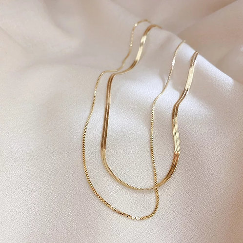 Gabrielle Gold Double Layer Snakechain Necklace