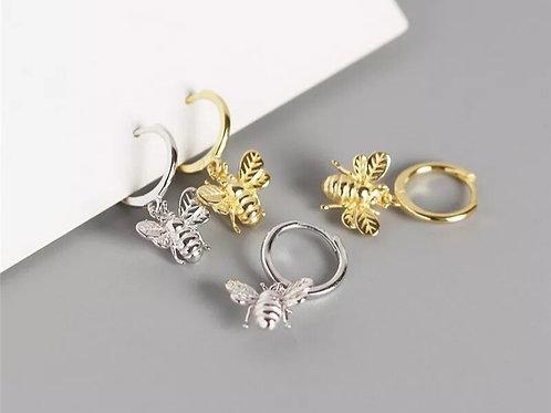 Bee Sterling silver Huggie Earrings - silver or gold