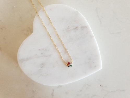 Rainbow Crystal Flower Pendant Necklace