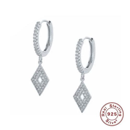 Deco Sparkly Huggie Hoop Earrings - Silver