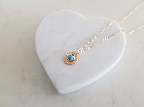 Gold Necklace with turquoise pendant