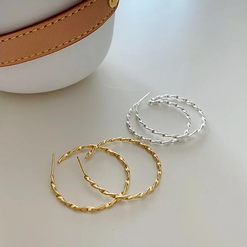 Large Twisted Hoops - Silver or Gold