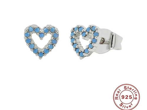Turquoise crystal Heart Studs - silver or gold