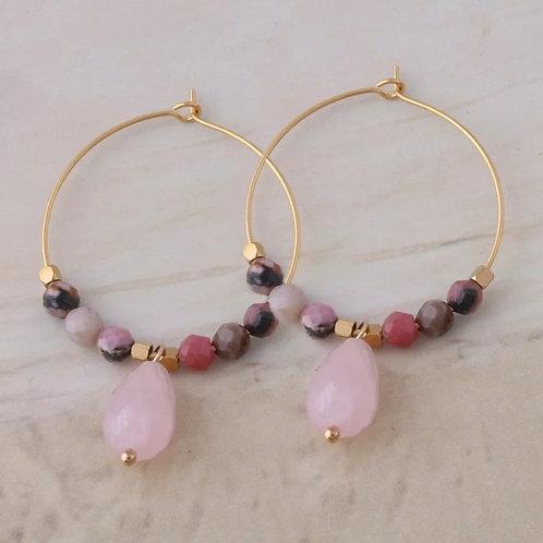 Pura Rose Quartz Semi Precious Hoop Earrings