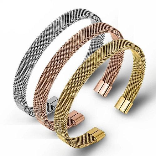 Mia Mesh Cuff Bracelet - silver, gold or rose gold