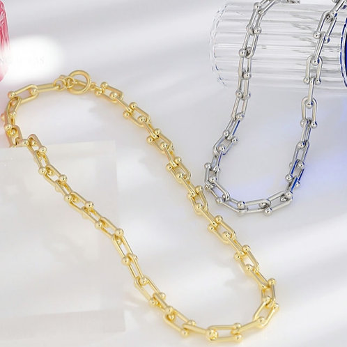 Zeta T Bar Chain Link Necklace - Gold or Silver