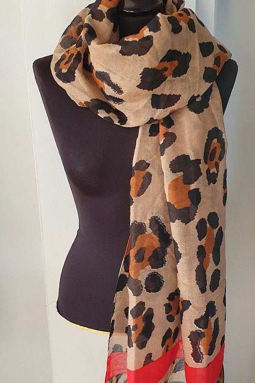 Leopard print scarf with green & red trim