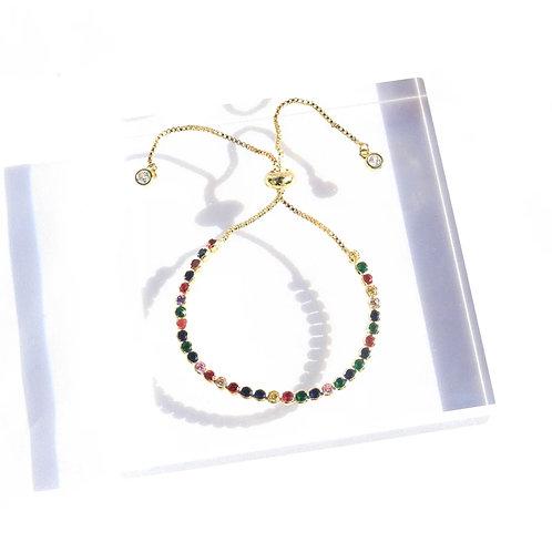 Rainbow Crystal Slider Bracelet in Gold