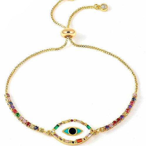 Cleopatra Enamel Eye Rainbow Slider Bracelet