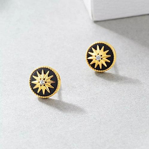 Noir earrings - Black agate