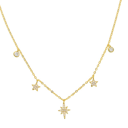 Crystal Star Necklace - Silver or gold