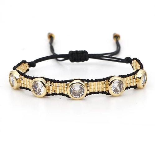 Handmade Gold & Black Seed bead Friendship Bracelet