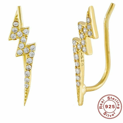 Lightning Bolt Ear climbers - silver or gold