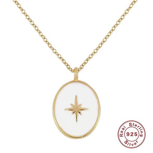 Blanche White Enamel Pendant Necklace