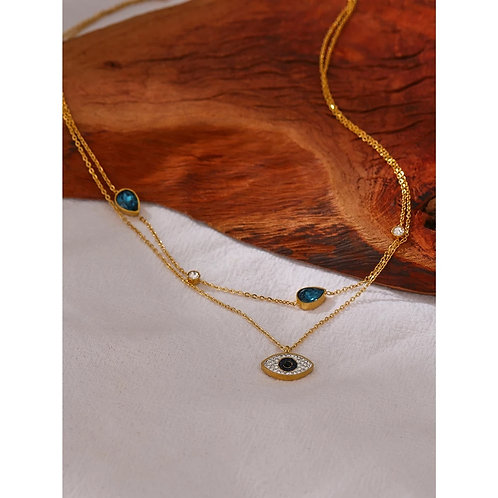 Elayna Layered Necklace with Crystal Eye Pendant