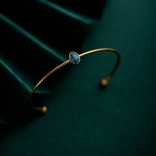 Gold Cuff Bracelet with Turquoise stone