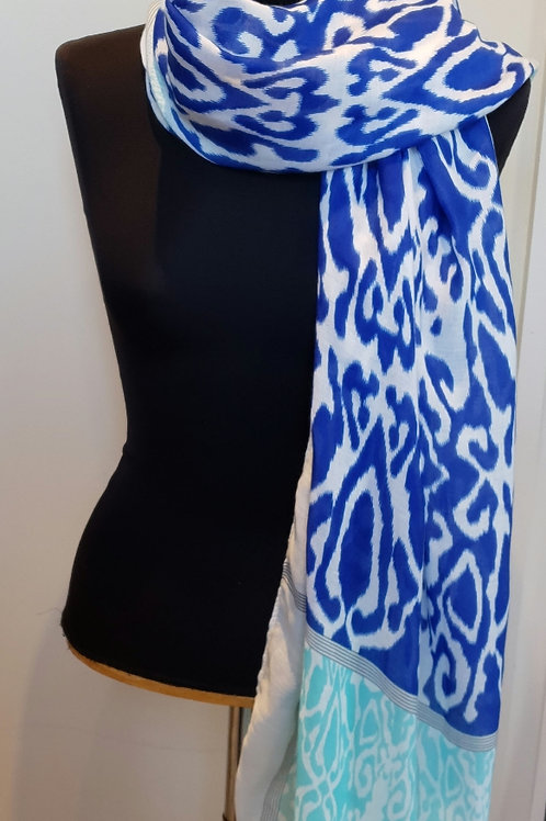 Blue, White and Turquoise Scarf/Sarong
