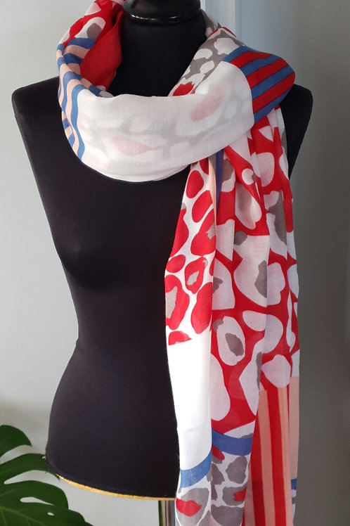 Red, White & Blue Pattern Scarf