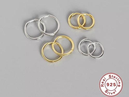 Plain Huggie Hoops - silver or gold