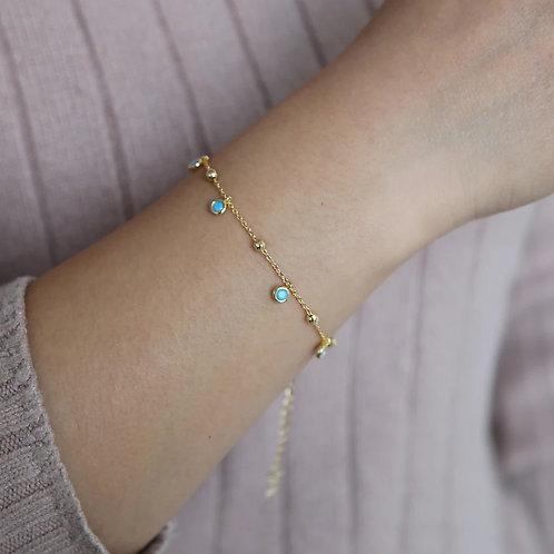 Rosa sterling silver bracelet - Turquoise or Pink