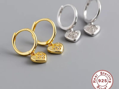 Huggie Earrings, Heart Pendant - Silver or Gold