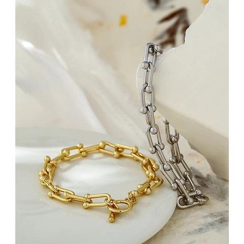 Zeta T Bar Chain Link Bracelet - Gold or Silver