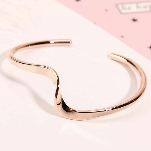 Wave Cuff Bracelet -  gold or rose gold