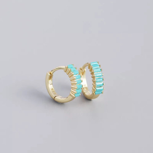 Turquoise Crystal Huggie Hoops - silver or gold