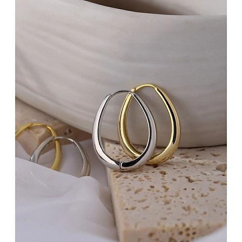 Hula Oval Hoop Earrings - Gold or Silver