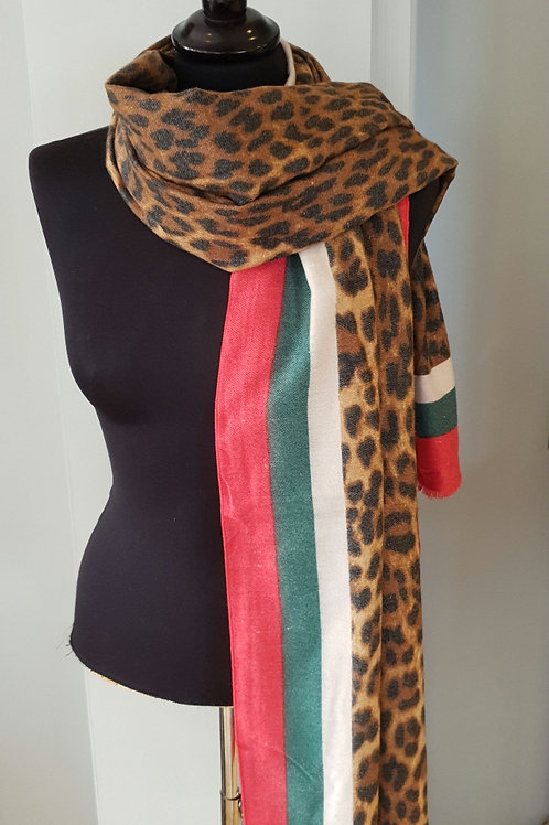Cashmere Leopard Print scarf - green & red trim
