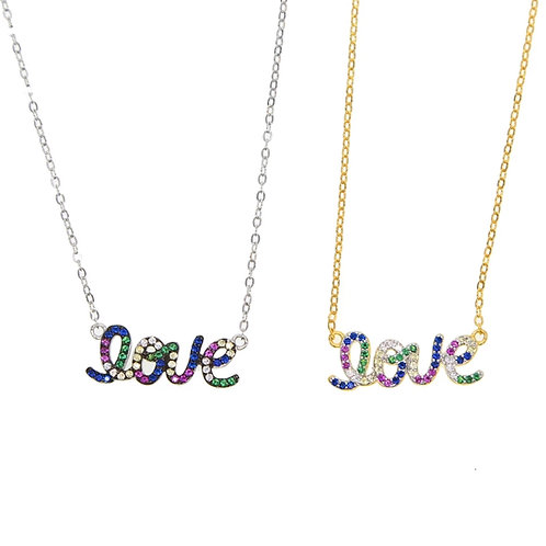Rainbow Love Crystal Pendant Necklace - Silver or gold