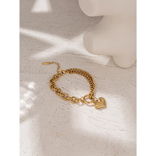 Amore Chunky Gold Bracelet with Heart