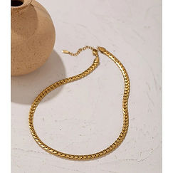 Gia Snake Chain Necklace  - Gold single.