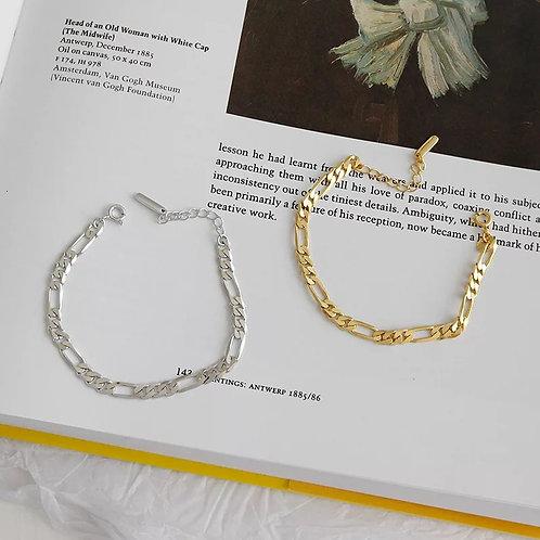 Figaro Sterling Silver Bracelet - Silver or Gold