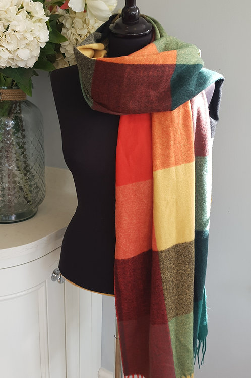 Bright Check Wool Scarf