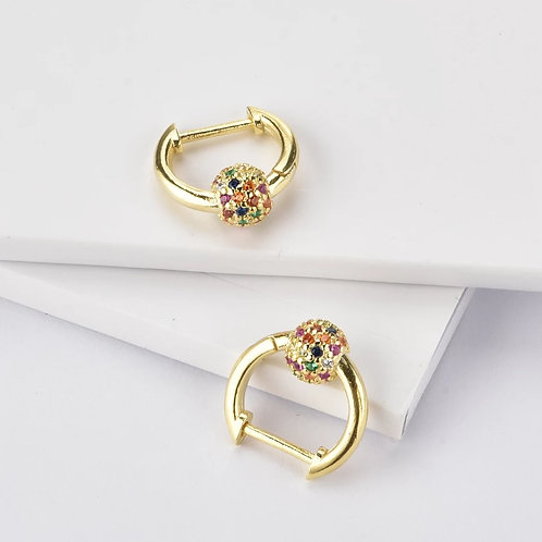 Disco Ball Sterling Silver Hoops Gold