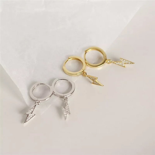 Crystal Lightening Bolt Sterling Silver Huggie Earrings - Gold or Silver