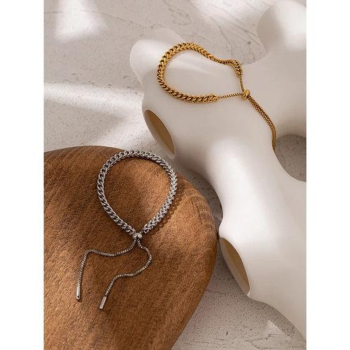Marta Chain Slider Bracelet - silver or gold