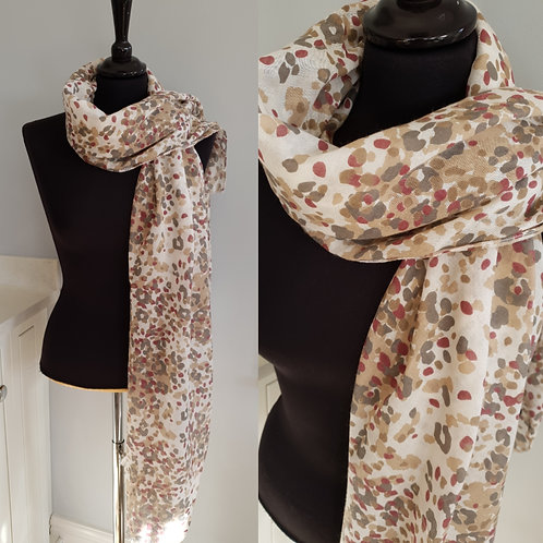 Cream Muted Leopard Print scarf