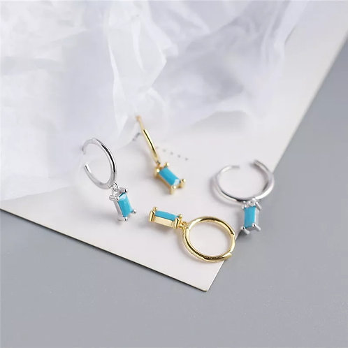 Ibiza Huggie Earrings with Turquoise - silver or gold