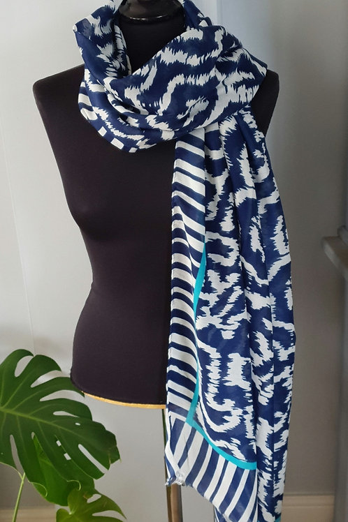 Blue & White Summer Patterned Scarf