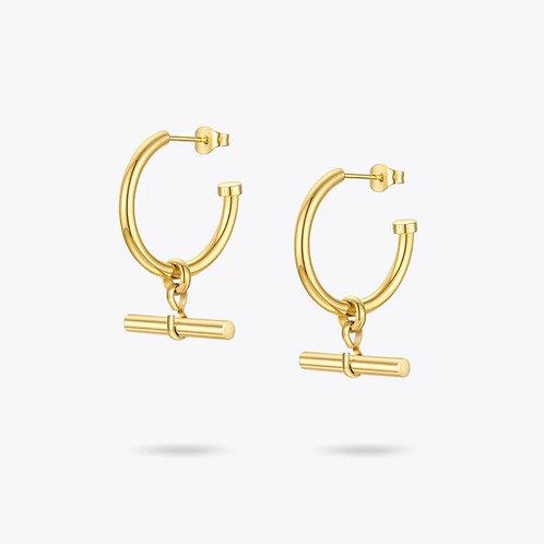 Tamara Gold Hoop Earrings T Bar Pendant
