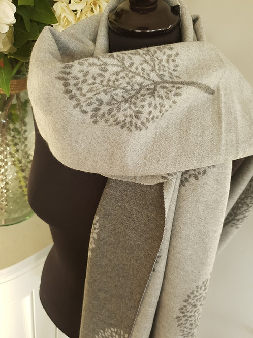 Mulberry Tree Grey Cashmere Mix Scarf