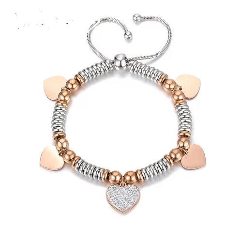 Heart Slider Bracelet - Stainless steel