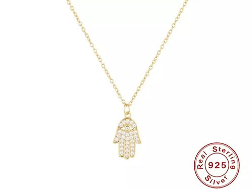 Strength - Hamsa Hand Pendant Necklace - Gold