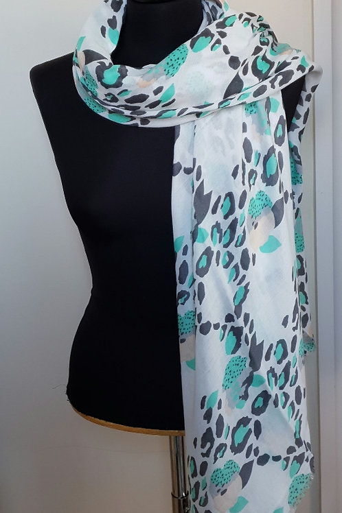 Turquoise & White Pattern Scarf