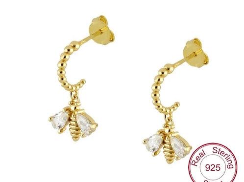 Bee Sterling silver Huggie Stud Earrings - silver or gold