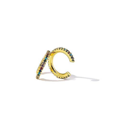 Rainbow Ear Cuffs, single - Gold plated